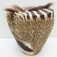 AFRICAN TRIBAL ZEBRA SKIN COVERED DRUM