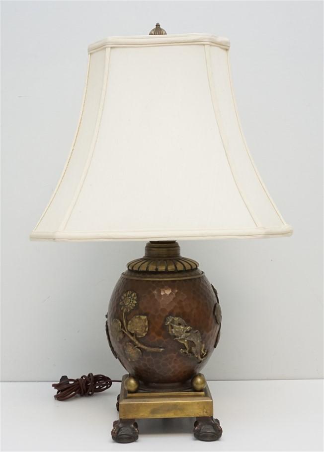 ANTIQUE JAPANESE HAMMERED BRONZE LAMP