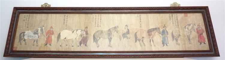 19th c. INK & GOUACHE 5 HORSES & GROOMS