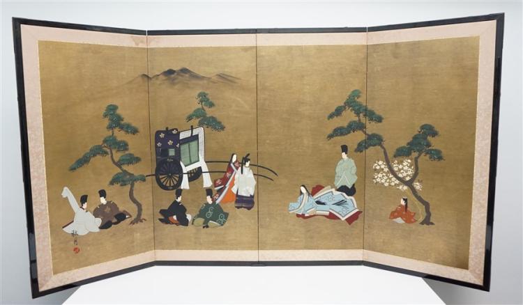 HAND PAINTED JAPANESE BYOBU - SHI-GETZU