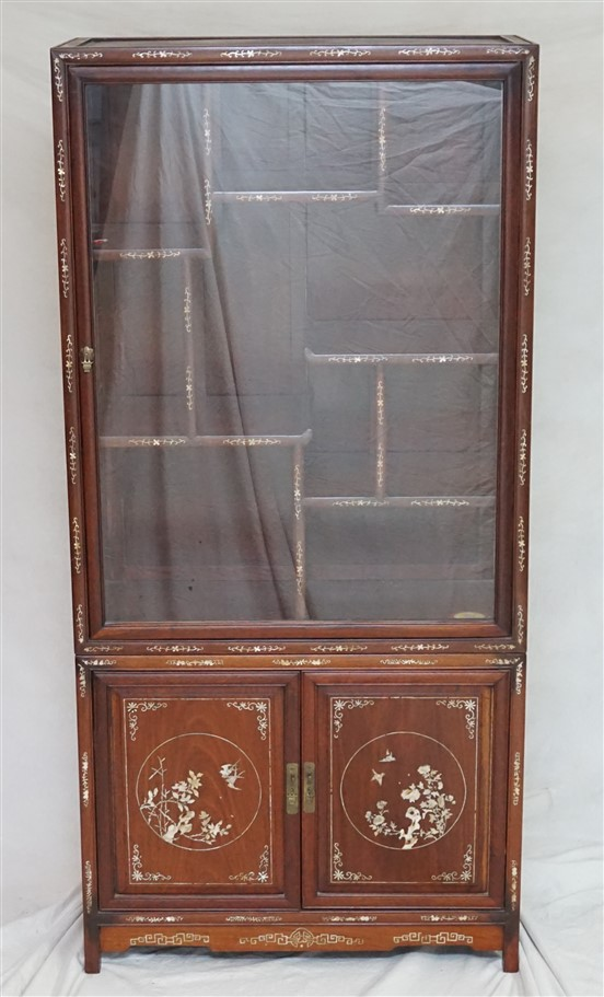 CHINESE INLAID ROSEWOOD DISPLAY CABINET