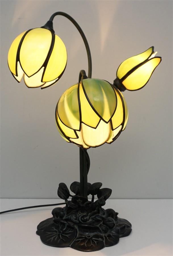 BRONZE 3 LIGHT WATER LILY LAMP