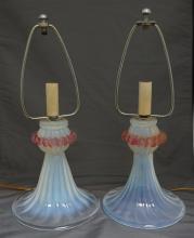 2 OPALESCENT GLASS BOUDOIR LAMPS