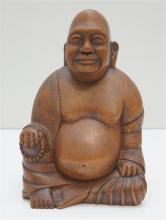 HAND CARVED WOOD HOTEI / HAPPY BUDDHA