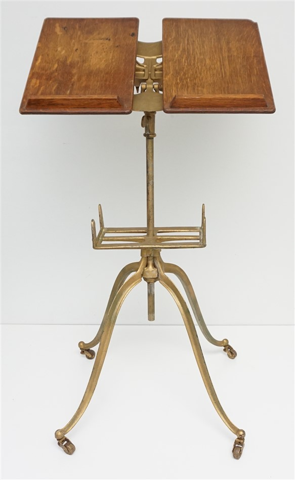 AMERICAN OAK & IRON LIBRARY STAND