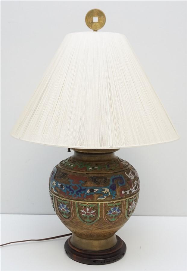 JAPANESE BRONZE CHAMPLEVE LAMP