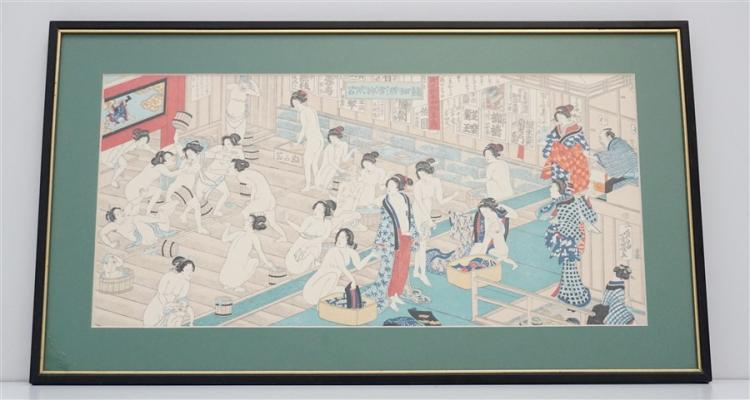 UTAGAWA WOODBLOCK WOMANS BATH HOUSE