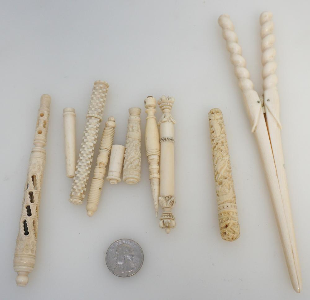 7 Hand Carved Bone Needle Cases Pen