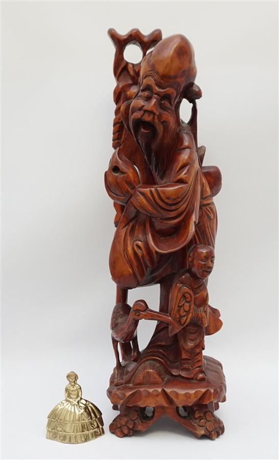 Large chinese boxwood carved shou lao