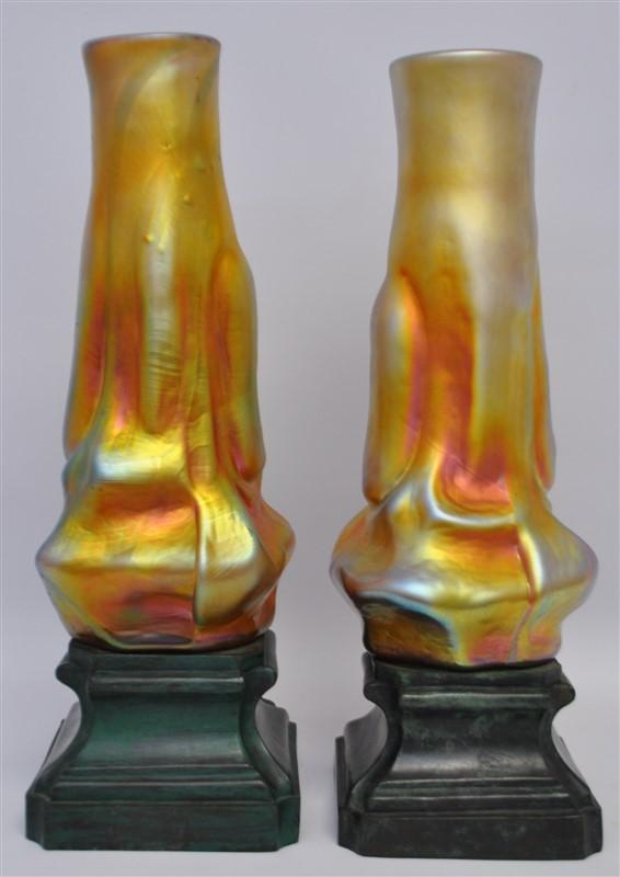 PAIR BOHEMIAN ART GLASS VASES ON BRONZE MOUNTS