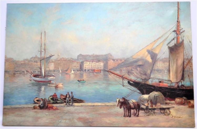 OIL ON CANVAS TENBY SOUTH WALES - LEWISON