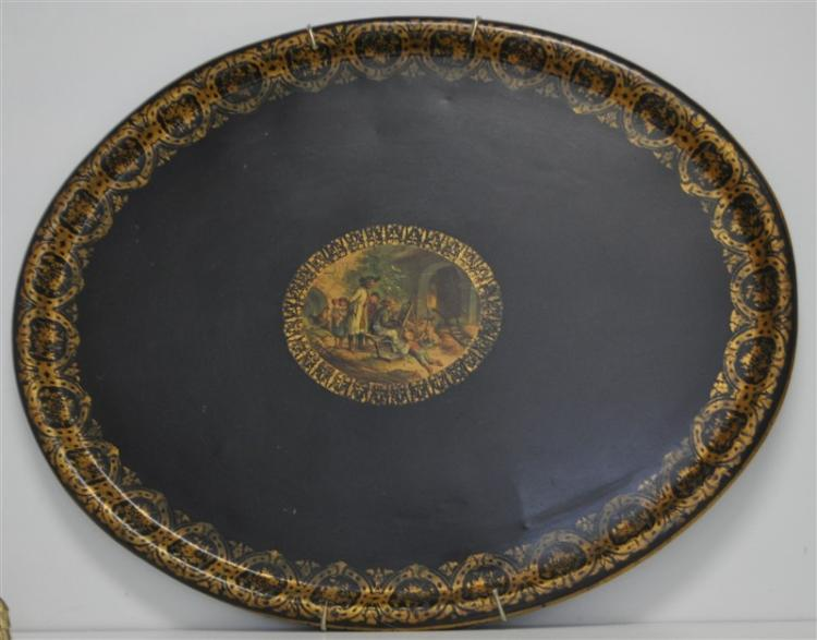 FRENCH LARGE HAND PAINTED TOLE TRAY BEDEL CIE