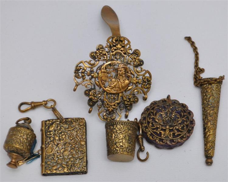 19th c GILT BRASS ORNATE CHATELAIN W SEWING ITEMS