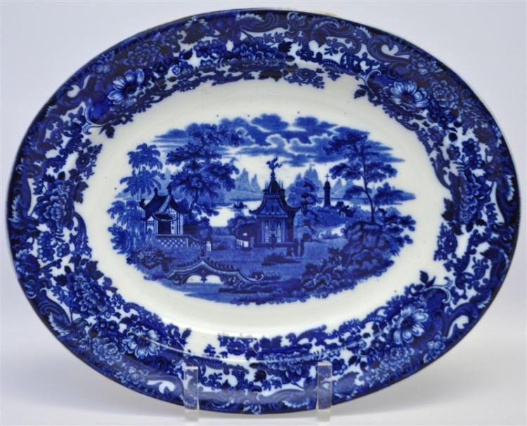 ANTIQUE 19TH c. WEDGWOOD FLOW BLUE PLATTER