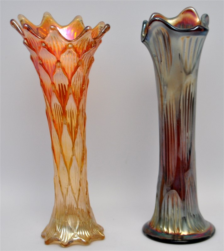 2 CARNIVAL GLASS VASES FENTON AND DUGAN C. 1912