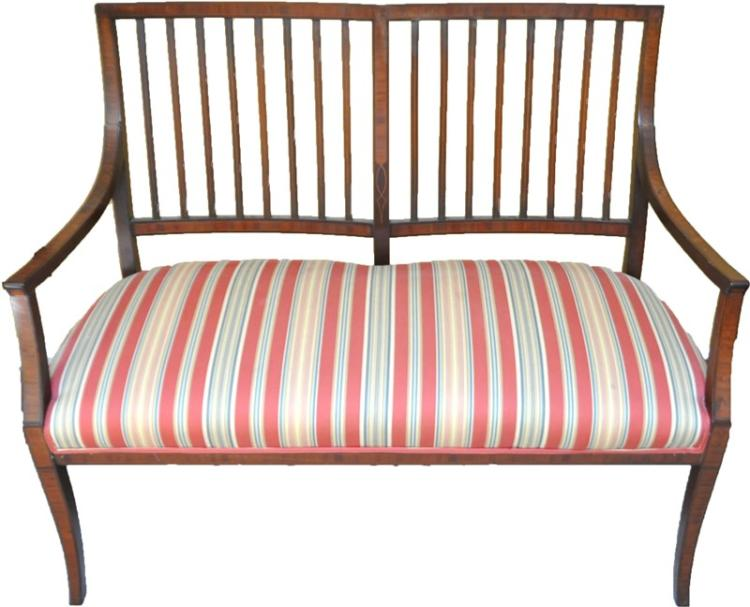 ANTIQUE SHERATON UPHOLSTERED PARLOR SETTEE / BENCH
