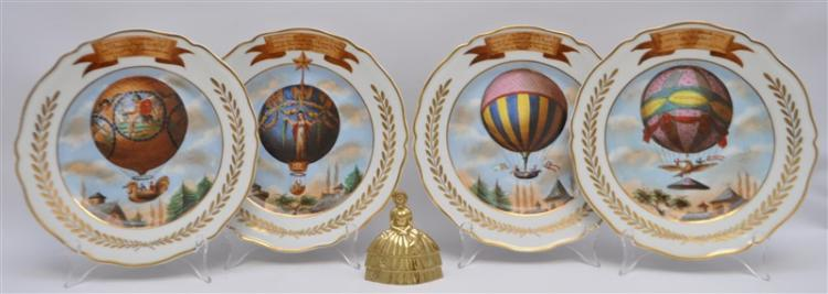 4 FRENCH PORCELAIN HAND PAINTED BALLOON PLATES