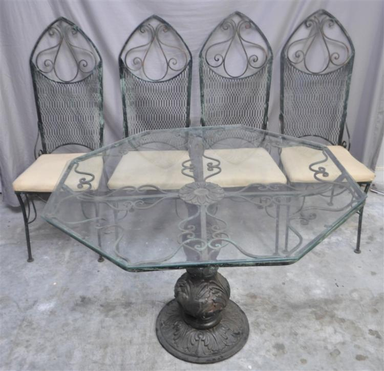 ANTIQUE GOTHIC CAST IRON TABLE W 4 CHAIRS