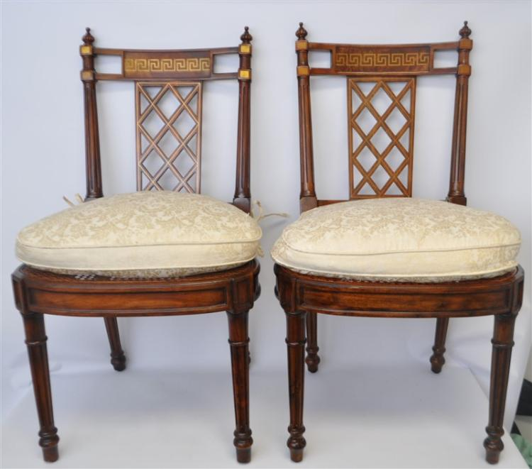 MATCHED PAIR THEODORE ALEXANDER INLAID CHAIRS