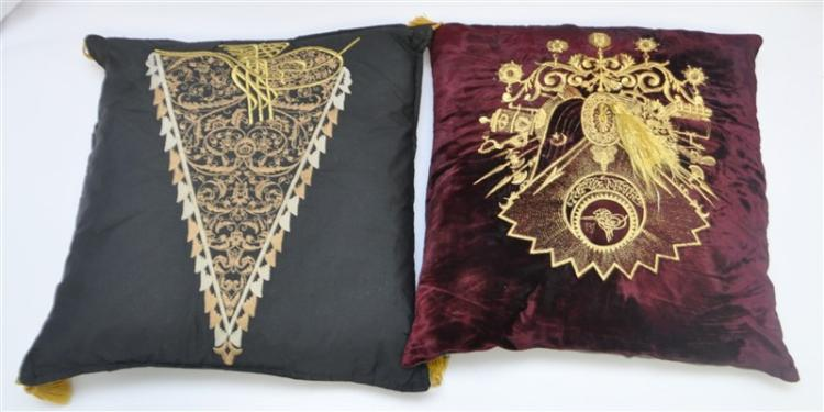 2 ANTIQUE GOLD THREAD EMBROIDERED PILLOWS