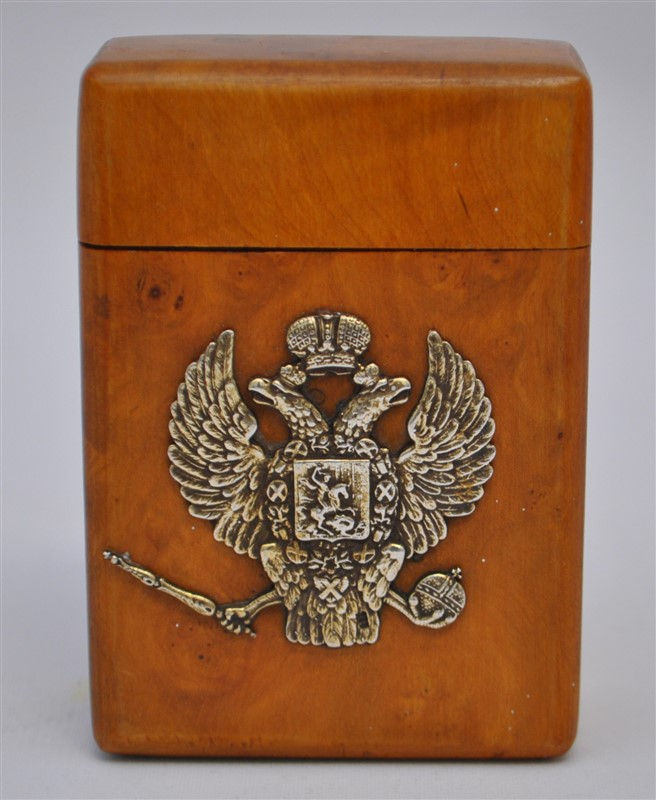 STERLING ROMANOV CREST KARELIAN CIGARETTE BOX / CASE