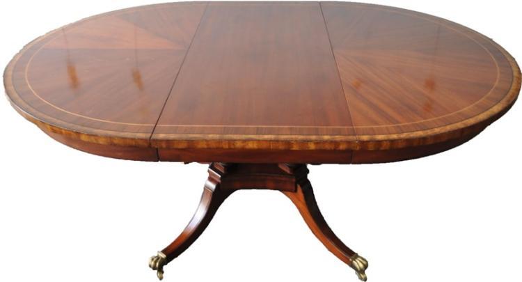 GEORGE III STYLE MAHOGANY INLAID DINING TABLE