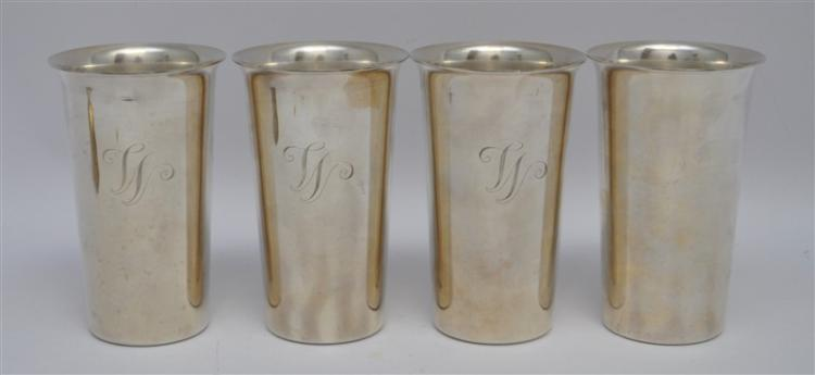 4 STERLING SILVER S. KIRK & SON TALL JULEP CUPS