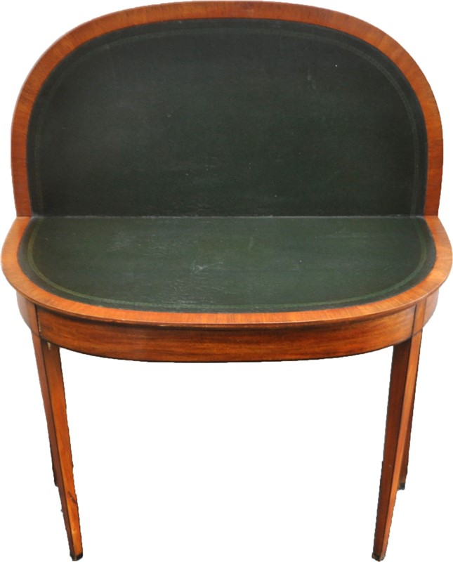 19TH C. FEDERAL DEMILUNE GAME TABLE