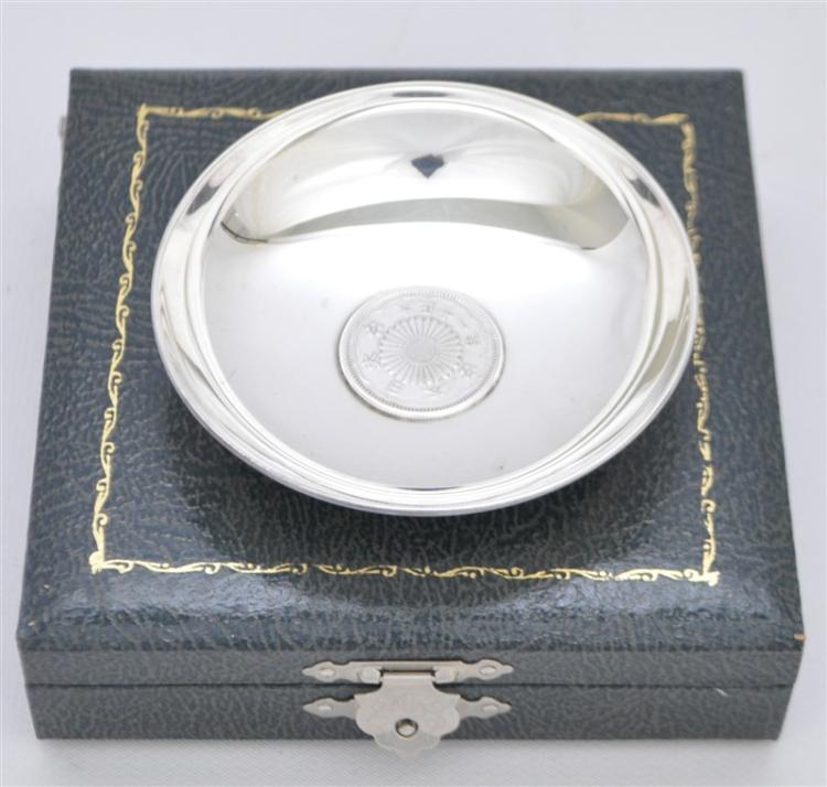 STERLING SILVER SAKE / CUP BOWL W TAISHO 50 SEN COIN