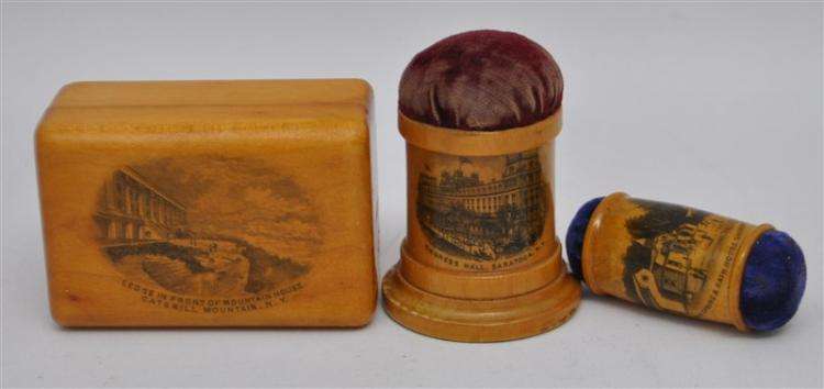 3 pc 19th c. MAUCHLINE WARE SEWING ITEMS NY STATE