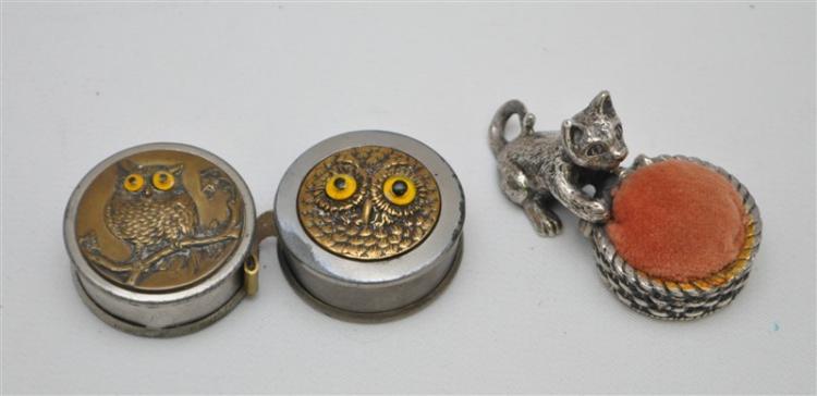 3 pc. ANTIQUE GERMAN OWL TAPE MEASURES & CAT PINCUSHION