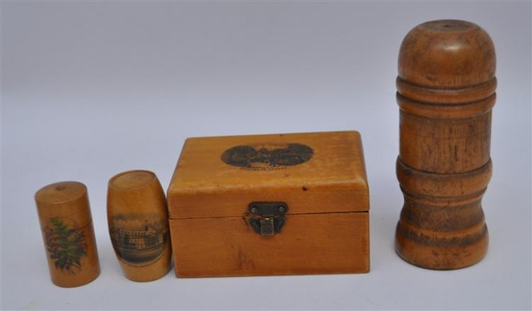 4 pc MAUCHLINE WARE & TURNED WOOD SEWING ITEMS