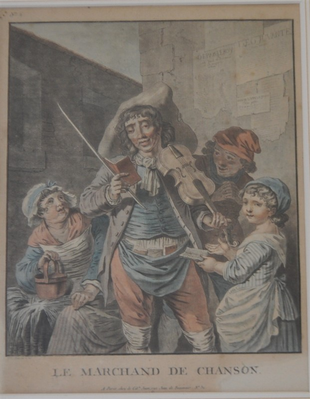 ANTIQUE FRENCH 19TH C. HAND COLORED ENGRAVING