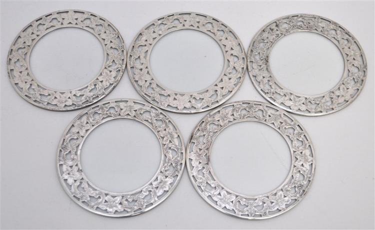 5 STERLING SILVER & GLASS LILY COASTERS