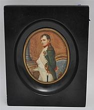 FRAMED FRENCH OIL MINIATURE NAPOLEON