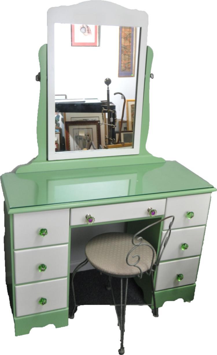 VINTAGE GREEN & WHITE VANITY W MIRROR & CHAIR