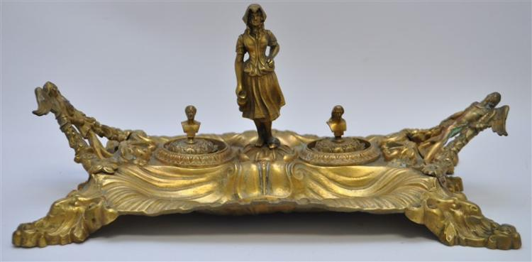 FIGURAL GILDED DOUBLE INK STAND
