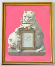 FRAMED DIE-CUT CATS WITH CARRIAGE CLOCK