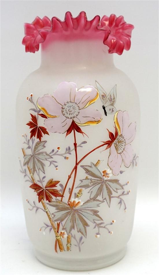 VICTORIAN ENAMELED OPALINE W CRANBERRY VASE Opaline Ruffled Glass Pink Vase