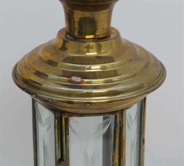 Pair Brass Hanging Candle Lanterns