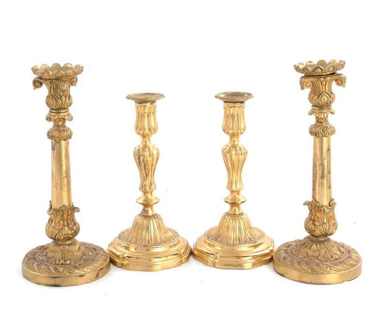 French gilt-bronze candlesticks (4pcs)