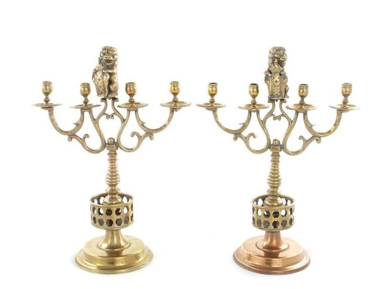 Pair Continental brass candelabra (2pcs)