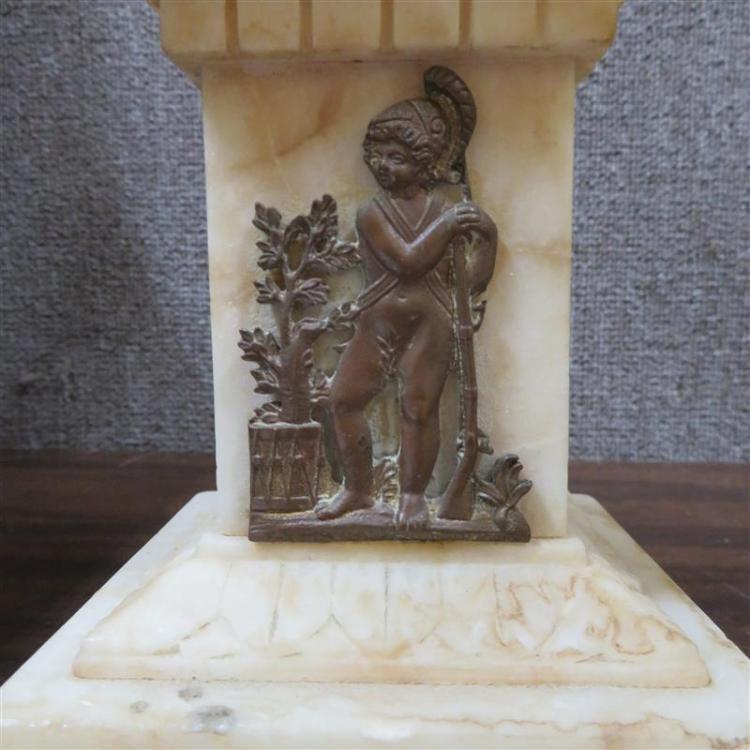 Pair ormolu and alabaster candelabra (2pcs)