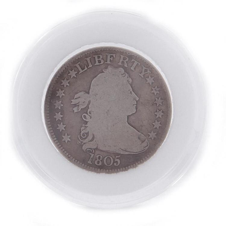 †1805 Draped Bust quarter coin