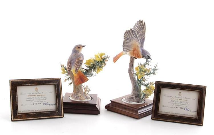 Pair Dorothy Doughty Redstarts and Gorse (2pcs)