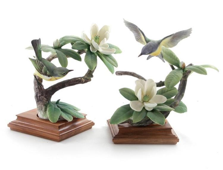 Pair Dorothy Doughty Parula Warblers and Sweet Bay (2pcs)