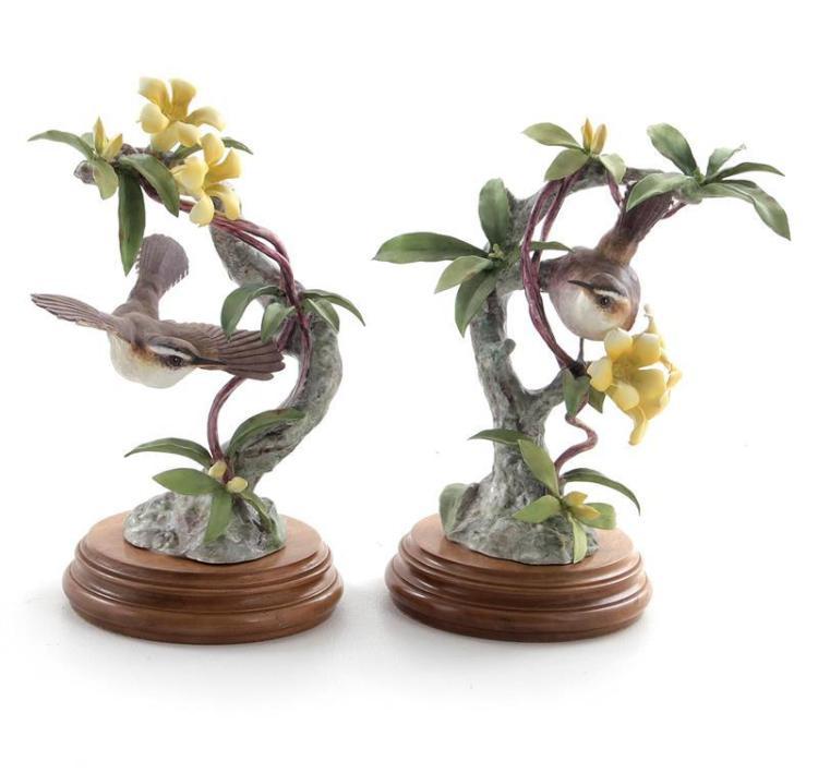 Pair Dorothy Doughty Bewick's Wrens and Yellow Jasmine (2pcs)