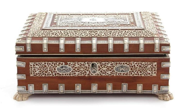 Anglo-Indian stained bone and wood jewelry box