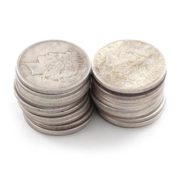 †Morgan and Peace silver dollar coins (24pcs)