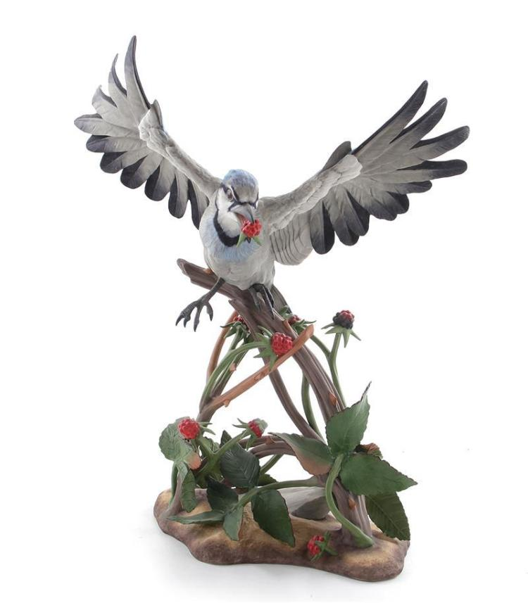 Boehm porcelain Blue Jay with Raspberries